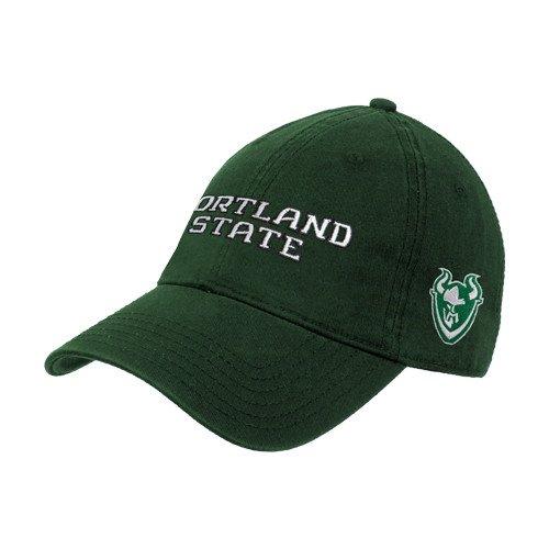 プレゼント折り目染色Portland StateダークグリーンTwill Unstructured Low Profile帽子' Portland State '