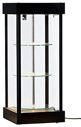 Displays2go Tabletop Display Case, Spinning Shelves, LED Lights, Lockable  Door   Black (