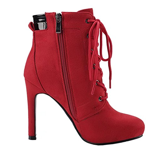 AIYOUMEI Damen Nubukleder Lace Up Stiefeletten mit Schnürsenkel High Heels Schnürstiefeletten Schuhe Rot
