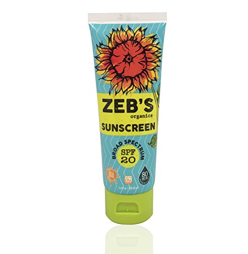 Zebs Organics Sunscreen, Natural & Organic, SPF 20, 3.4oz