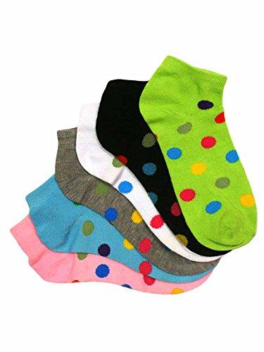 Polka Dot 6-Pack Ladies Ankle Socks by Luxury Divas
