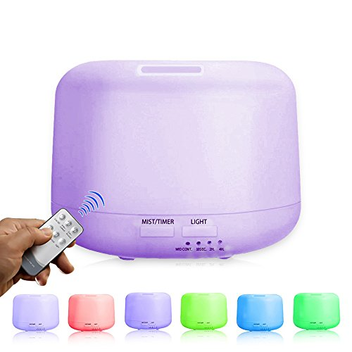 Aromatherapy Essential Oil Diffuser – 300 ML with Remote Control Portable Ultrasonic Aroma Humidifier with 7 Color Changing LED Lamps, Mist Mode Adjustment and Water-less Auto Shut-off Function Review