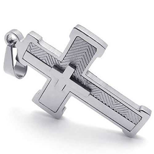 stainless-steel-necklaces-unisexs-pendant-necklace-polishing-cross-silver-18-26-link