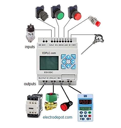 Automatas Programables 8 entradas DC, 4 Salidas Rele, 24VDC PLC 12 I/O USB - - Amazon.com