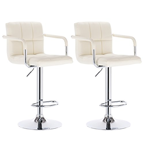 WOLTU Armrest Bar Stool ABSX1003crm-c 360 degree Swivel Bar Stool Cream Bonded Leather Bar Stool Adjustable height Barstools Work Sturdy work Place Bar Stools, Set of 2 (Chrome Wide Bar Stool)