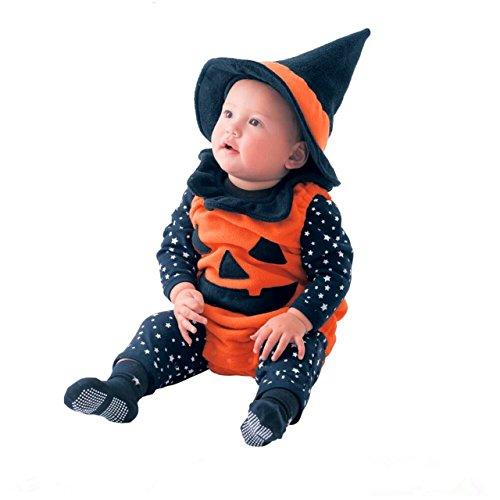 Toddler Baby's Halloween Costume Pumpkin 3 Piece Long Sleeve Romper Cutie Costume For (Best Costumes For Babies)