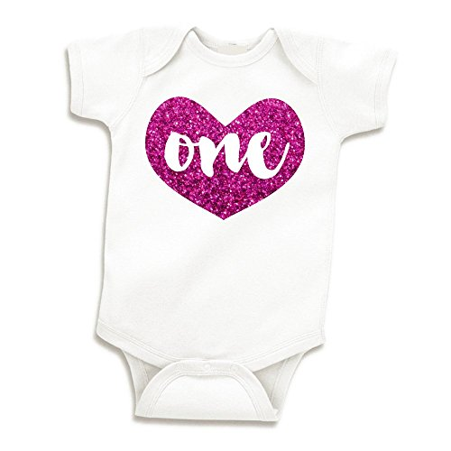 Girl First Birthday Outfit, Baby Girls One Year Old Birthday Shirt (Glitter Pink, 6-12 Months) by Bump and Beyond Designs