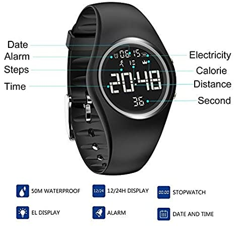 Hootracker Pulsera Inteligente-Reloj de Pulsera Digital, Fitness Rastreador, Pantalla de Gran Tamaño con Podómetro, Alarma,Contador de Calorías,Impermeable ...