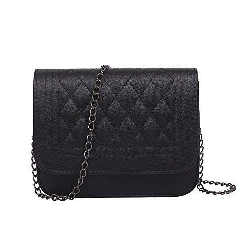 UltraZhyyne - PU Leather Women Messenger Bag Plaid Ladies Crossbody Bag Chain Trendy Candy Color Small Flap Shopping Handbag[Black]
