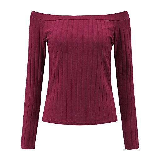 Freestyle Autunno Inverno Maniche sweatshirt Elegante Pullover Casuale Jumper Corti Maglione da Donna Maglieria Lunghe Fuori Spalla Strette T-shirt Bluse Camicie Tops