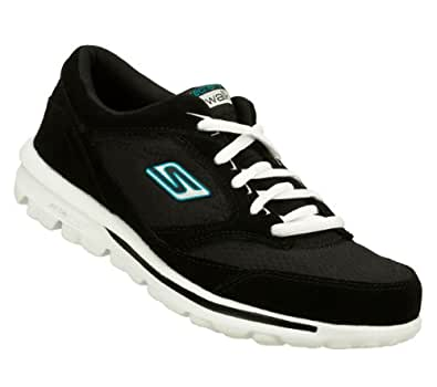 Skechers Go Walk Action Womens Lace Up Walking Shoes Black/Turquoise 11