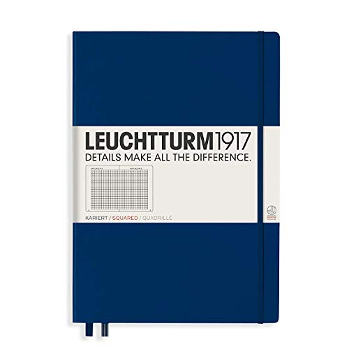 Leuchtturm1917 Hardcover A4+ Master Classic   Squared Notebook   Navy (Classic Diary A4 Size)