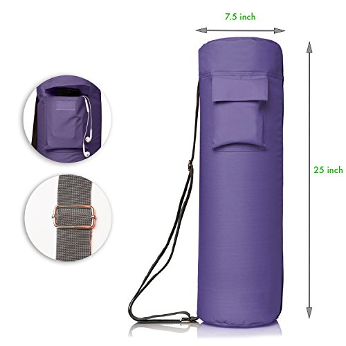 Yoga Mat Bag by NewK Yoga - Full Zip, Waterproof, Sling Bag with Expandable Pockets - Fits All Size Yoga Mats - Drawstring Bag and Sweat Wristband Included