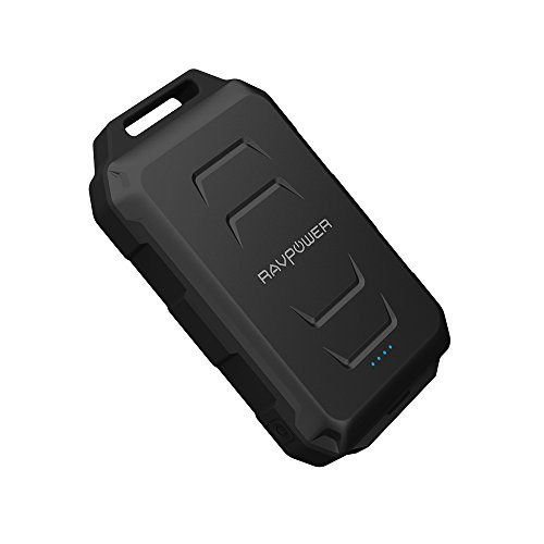 Battery Pack RAVPower 10050mAh Outdoor Portable Charger Waterproof Dustproof and Shockproof Rugged (Premiun Battery Cell) Built-in Flashlight; iSmart Technology - Black