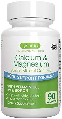 Calcium & Magnesium, 2:1 Plant Based Mineral Complex with Boron, Vitamin D3 & K2, High Absorption Bone Support Formula with Cofactors, Vegan, 90 Capsules, by Igennus 1