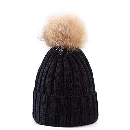 d5becb8019b Women Ladies Winter Pom Pom Hat Cosy Beanie Warm Winter Cap Pom Pom Bobble  Hat (Black Beige Pom Pom)  Amazon.co.uk  Kitchen   Home