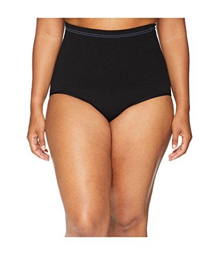 Yummie Women's Plus Size Cotton Seamless Shapewear Brief, Black, 1X/2X