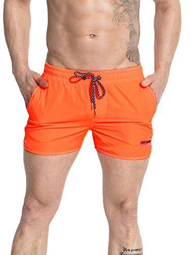 Neleus Mens Runner Sports Beach Shorts Swimming Trunks with Pockets, 708 Orange,...