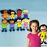 Fun Express Plush Happy Kids Hand Puppets Multi-Ethnic Collection Novelty (Set of 8)
