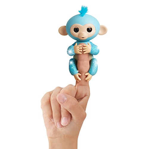 Fingerlings Glitter Monkey - Interactive Baby Pet by WowWee - Amelia (Turquoise Blue Glitter)