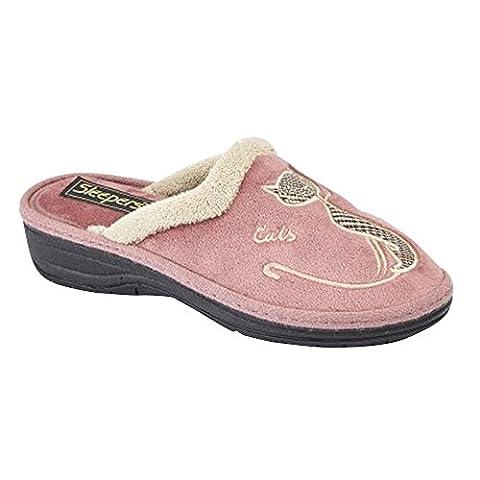 Boulevard Womens/Ladies Cat Motif Cuff Mule Slippers (9 US) (Heather)