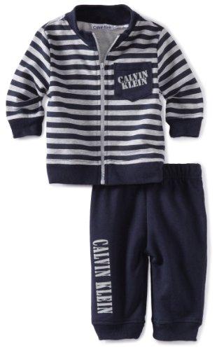 Calvin Klein Baby-Boys Newborn Stripe Jacket With Jog Pants