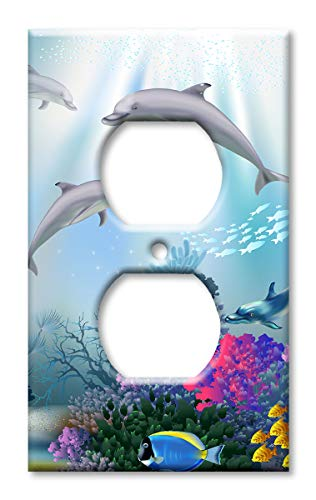 Dolphins Metal Switchplate - Art Plates OVER SIZED Outlet Cover/OVERSIZE Switch Plate - Dolphins