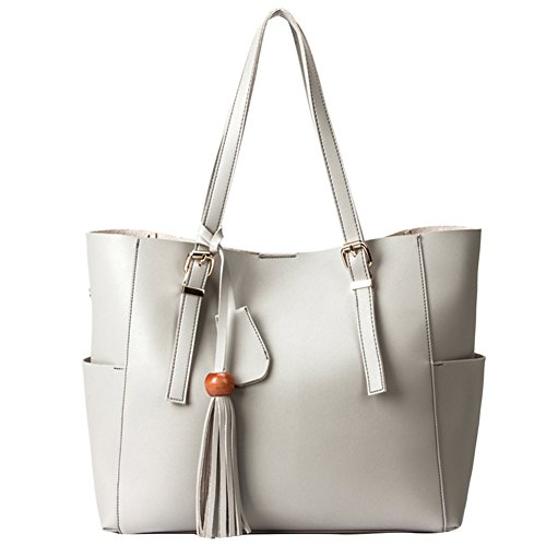 Yitrust Fashion Purse Women's Tassel buckets Soft Leather Totes Hobos Handbag Shoulder Bags Crossbody Bag (White) by Yitrust