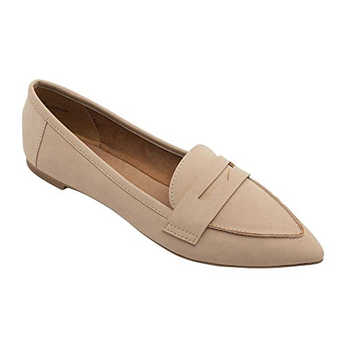 Pic/Pay Margo Womens Flats - Pointy Toe Penny Loafer Natural Nubuck Pu cz42NKSL