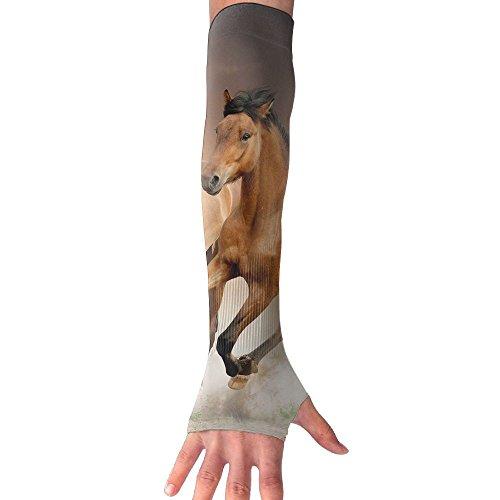 広々としたクラシカル振り向くペアの実行Golden Horse Sun Sleeves、UV保護冷却アームスリーブforメンズレディース(1ペア)
