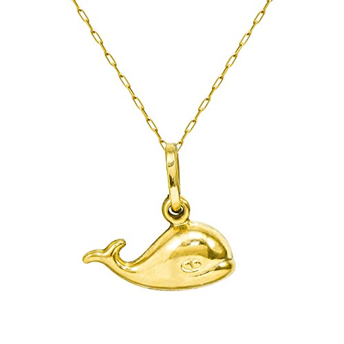 14K Yellow Gold Whale Pendant Necklace (16 Inches, Elongated Cable Chain)