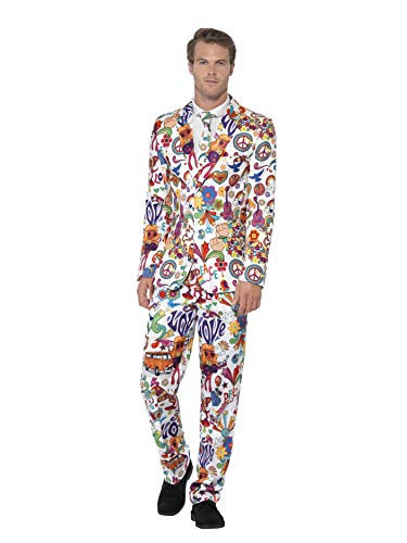 Smiffys Men's Groovy Suit Stand Out Suit, Jacket, pants and Tie, Stand out Suits, Serious Fun, Size M, 24592