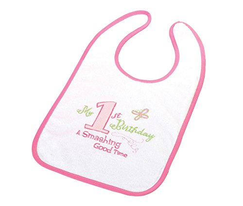 Lillian Rose First Birthday Cotton Bib, Pink, 8.75