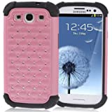 NEW PINK LUXURY BLING DIAMOND ENCRUSTED SPLIT PLASTIC & SILICON PROTECTIVE CASE FOR SAMSUNG GALAXY S111
