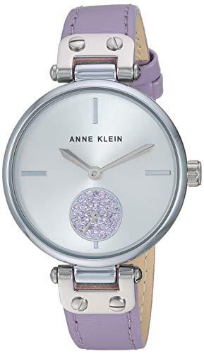 Anne Klein Women's AK/3381SVLV Swarovski Crystal Accented Silver-Tone and Lavender Leather Strap ()