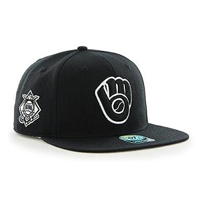 Milwaukee Brewers MLB Black Sure Shot 47 Brand Flat Bill Snapback Hat