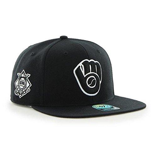 47 Milwaukee Brewers MLB Black Sure Shot Brand Flat Bill Snapback Hat
