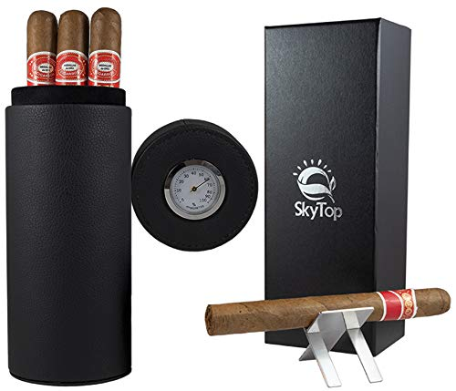 SkyTop Travel Cigar Case Humidor with Cedar Lining and Black Leather with Cigar Stand and Gift Box - Perfect for The Car, The Golf Course, and Vacations