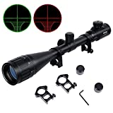 Ohuhu Hunting Rifle Scope, 6-24x50 AOE Red Green Illuminated Reticle Tactical Mil Dot Gun Sight with Free Mounts, Black