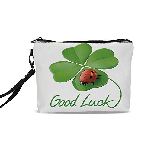 Going Away Party Decorations Simple Cosmetic Bag,Lucky Symbols Four Leaf Clover with Ladybug Irish Charm for Women,9