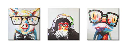 - Animals Canvas Wall Art, Modern Cartoon Oil Painting Giclee Printing Gorilla Monkey Music Funny Pig Cute Frog Canvas Painting Grey Background Home Decor Animal Prints (12x12inchesx3pcs)