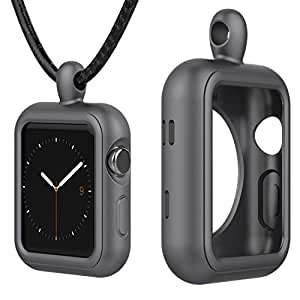 Greatfine Rugged Armor Apple Watch Pendant Case 42mm with Resilient Shock Absorption for 42mm Apple Watch Series 3 / 2 / 1 / Nike+ Sport Edition (Grey, 42MM)