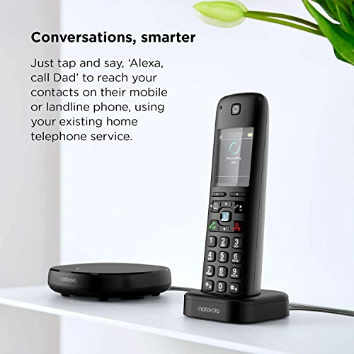 Motorola AXH01 DECT 6.0 Smart Cordless Phone and Answering Machine with Alexa Built-in – 1 Cordless Handset Included