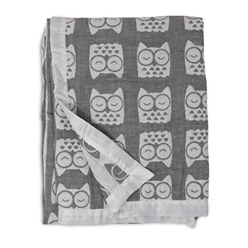 Living Textiles Muslin Jacquard Grey Owl Soft Baby Blanket PREMIUM QUALITY 100% Cotton for BEST COMFORT   Double Layer,Swaddle,Receiving,Infant,Toddler,Newborn,Nursery,Boy,Girl,Crib,Gift   40x30 Inch
