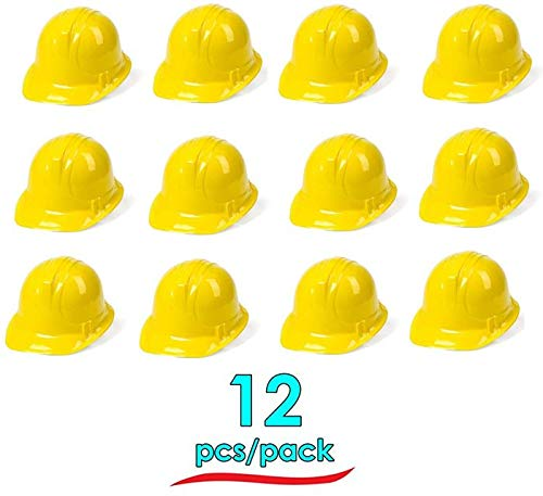 Dazzling Toys Pack of 12 Holiday Construction Hats | Building Supplies Yellow Construction Hat | Accessory for kids Building Projects -