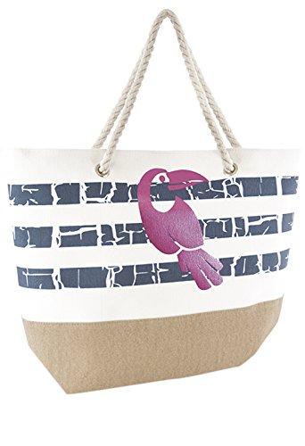 Tucan Holiday Bag Handbag Beach Summer Shoulder Womens Lora Metallic Dora Stripes Beach Reusable Tote Bag Canvas 6tqzng1w