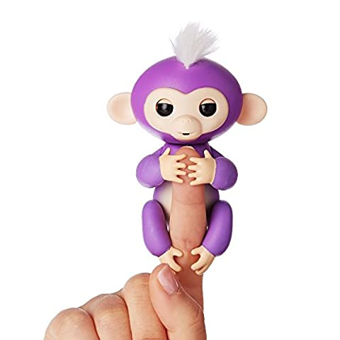 Fingerlings - Interactive Baby Monkey - Mia (Purple with White Hair) By WowWee - Toys and Games