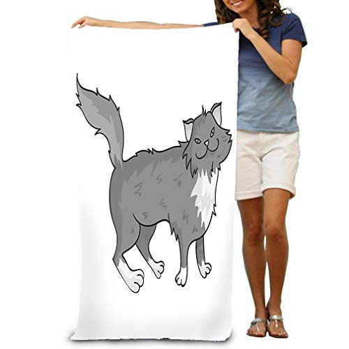 (Beach Towel Soft Quick Dry Lightweight High Absorbent Pool Spa Towel for Adult 31 X 51 Inch norwegian forest cat icon monochrome style isolated white background cat breeds symbol stock design )