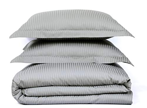 "500 Thread Count 100% Cotton Stripe Best Hotel Luxury Bedding 3-Piece Duvet Cover Set Zipper Closure-King (106""x92"")-3 Piece (1 Duvet Cover + 2 Pillow Shams), Soft, Silky Sateen Weave"