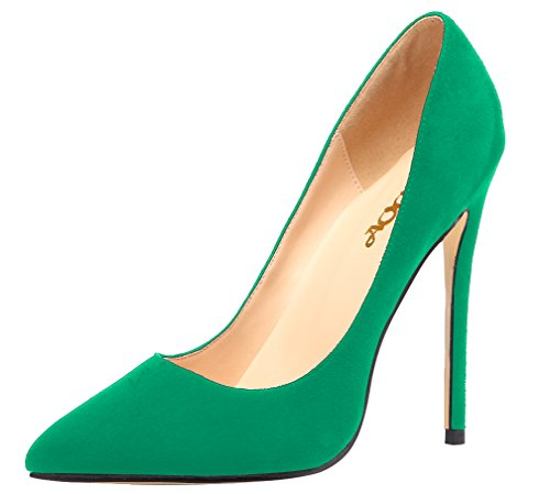 Pumps Suede Shoes Party High Solid AOOAR Womens Heel Green 7Ownf6